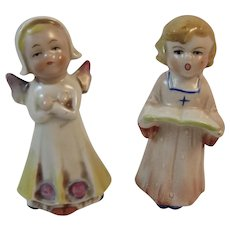 German Bisque Angel and Caroler Figurines Vintage Christmas