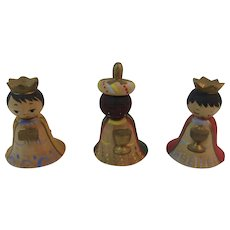 Italian 3 Wise Men Kings Miniature Wood Feather Tree Christmas Ornaments Three Made in Italy