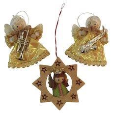 3 Mid Century Angel Christmas Ornaments MCM Vintage Trumpet & Saxophone Musicians Mid-Century