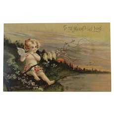 1907 Cherub Playing Flute for Birds To My Heart's Best Love by International Art Publishing Co Undivided Back