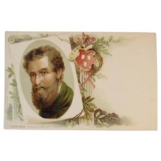 Raphael Tuck & Sons Michelangelo Chromo Card Printed in Saxony Germany Famous Painters Postcard Series No 706 Michel Angelo Unused Undivided Back