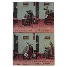 1910 Bamforth Mini Story Postcard Doctor Tells Father its Twins