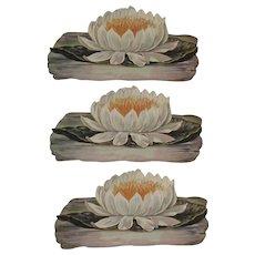 3 Victorian Die Cut Lotus Flowers Diecut Unused