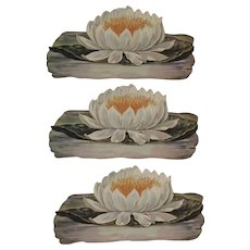 3 Victorian Die Cut Lotus Flowers Diecut Unused