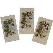 3 Unused Victorian Christmas Cards Embossed with Chromolithograph Decoration and Longfellow Poetry Inside