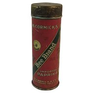 McCormick Bee Brand Paprika Spice Tin Red Gold and Green Vintage Kitchen