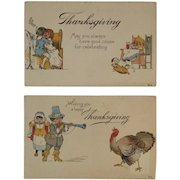 2 c1916 Thanksgiving Pilgrim Humorous Postcards with Turkeys and Dogs