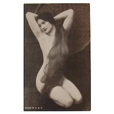 Risque Mutoscope Card Lady with very Long Hair Semi Nude