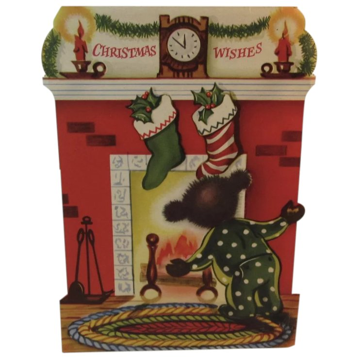 1950s Christmas Bear Stand Up Greeting Card Stockings Hung by the ...