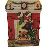 1950s Christmas Bear Stand Up Greeting Card Stockings Hung by the Chimney Waiting for Santa Claus