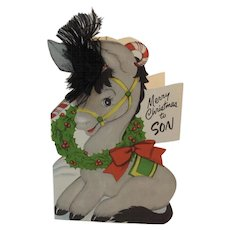 Unused Christmas Card for Son by Stanley Greetings with Pony