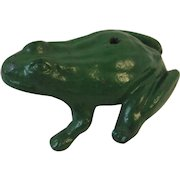 Cast Iron Frog with Original Green Paint Garden Art or Paperweight