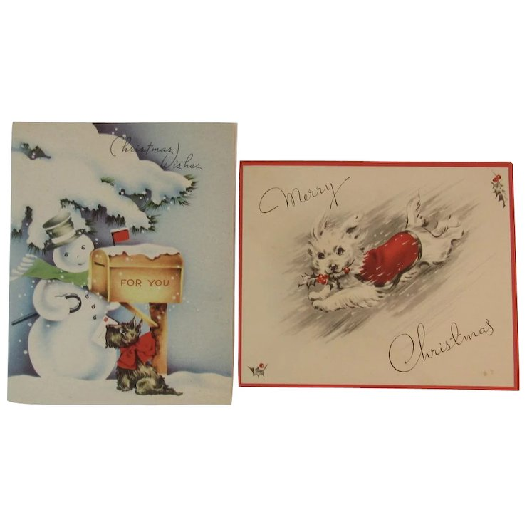 2 Scottie Dog and Terrier Christmas Cards Vintage Holiday : SS Moore ...