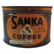 Old Sanka Coffee Tin One Pound