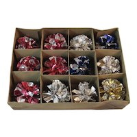 Multicolor Krinkle Glo Foil Ball Ornaments in Original Box Vintage Atomic Age Christmas Crinkles