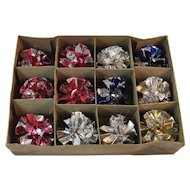 Multicolor Krinkle Glo Foil Ball Ornaments in Original Box Vintage Atomic Age Christmas Crinkles