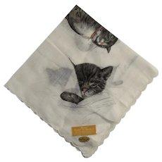 Chessie Peake and Kittens C & O Railroad Hanky Swiss Handkerchief Chesapeake and Ohio Railway Cat Family Never Used with Original Labels