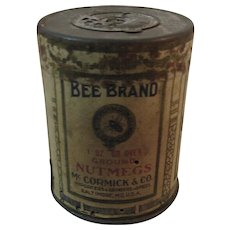 1890s McCormick Bee Brand Ground Nutmeg Spice Tin with Paper Label Nutmegs