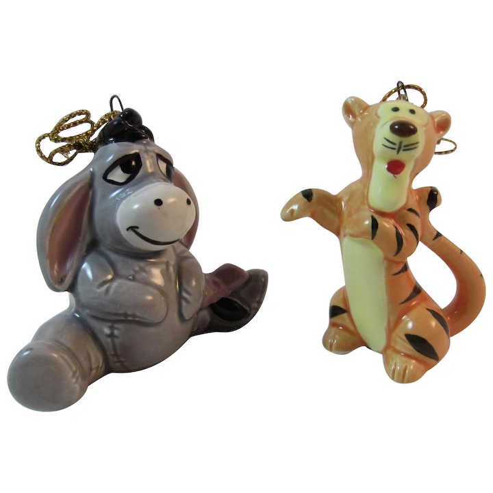 Tigger Christmas Ornaments.Disney Eeyore And Tigger Christmas Ornaments Japan Porcelain Vintage Christmas Winnie The Pooh Characters