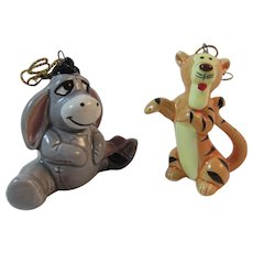 Disney Eeyore and Tigger Christmas Ornaments Japan Porcelain Vintage Christmas Winnie the Pooh Characters