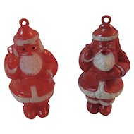 2 Santa Candy Container Christmas Ornaments Hard Plastic Vintage