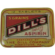 Dill's Aspirin Tin with Original Instructions Norristown, PA 12 Tablet Size