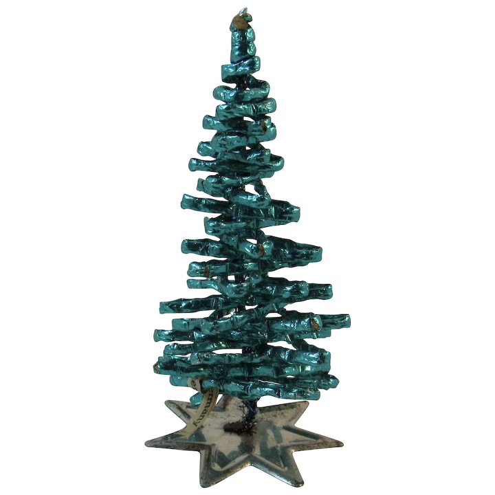 Foil Christmas Tree.West German Foil Wrapped Green Christmas Tree On Tin Base Vintage Germany