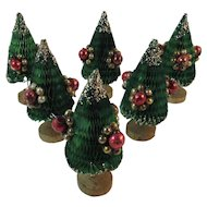 6 Holt Howard Honeycomb Christmas Trees with Mercury Glass Ornaments and Wood Bases