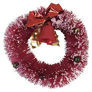 Mini Red Bottle Brush Wreath Flocked with Bell Foil Bow and Leaves and Mercury Glass Beads Bottlebrush