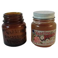 Two Vaseline Jars Amber and Pomade Never Used