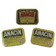 3 Anacin Aspirin Tins Vintage Medical