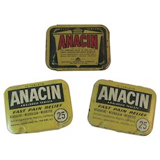 3 Anacin Aspirin Tins Vintage Medical