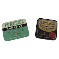 2 Laxative Tins Porter's and Ex-Lax Vintage Medical
