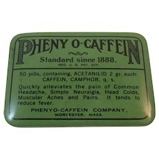 1928 Pheny O-Caffein Tin Medical Quackery Cureall Cure All