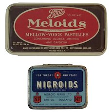 Boots Meloids and Nigroids Tins Pastilles Lozenges for Throat and Voice English Drug Store