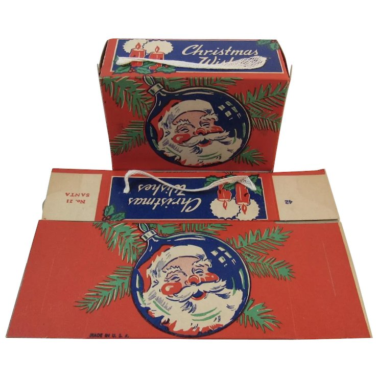 2 christmas candy boxes with santa unused made in usa litho containers - Christmas Candy Boxes