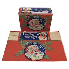 2 Christmas Candy Boxes with Santa Unused Made in USA Litho Containers