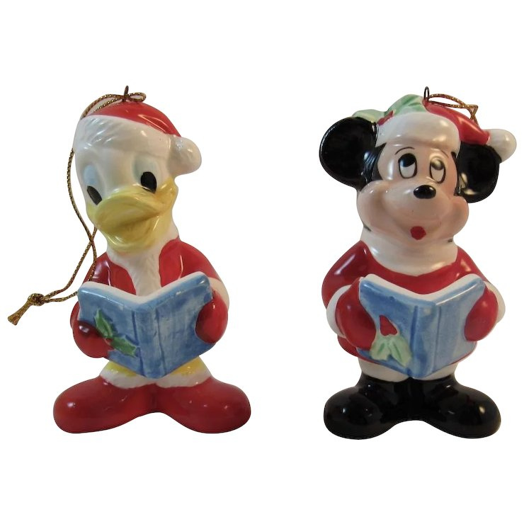 mickey mouse and donald duck christmas caroler ornaments vintage japan ceramics caroling - Donald Duck Christmas