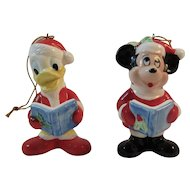 Mickey Mouse and Donald Duck Christmas Caroler Ornaments Vintage Japan Ceramics Caroling