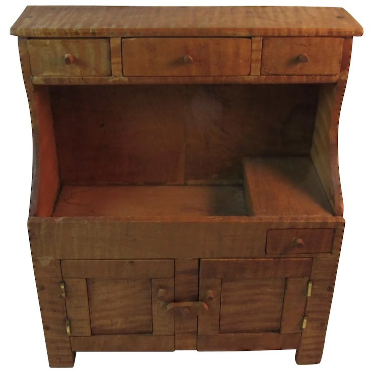 antique dry sink hutch Tiger Maple Child's Dry Sink Hutch Miniature Furniture Hand Made  antique dry sink hutch