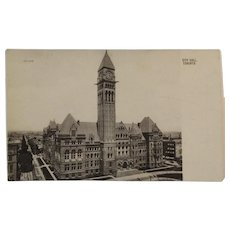 c1907 Postcard City Hall Toronto Canada Postcard Valentines Glace Series