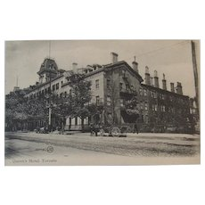 1907 Postcard The Queen's Hotel Toronto, Canada Valentine & Sons