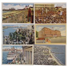Lot of 6 Postcards, Atlantic City, New Jersey Mid-Century