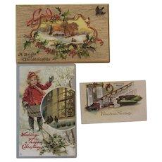 2 Tuck Embossed Christmas Postcards and 1 Christmas Greeting Card