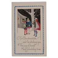 Art Deco Style Embossed Christmas Postcard