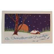 Art Deco Embossed Christmas Postcard
