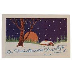 Art Deco Embossed Christmas Postcard