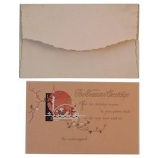 Unused Whiting Art Deco Season's Greeting Embossed Christmas Card and Envelope