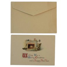 Unused Circa 1900s Christmas Greeting Card and Envelope