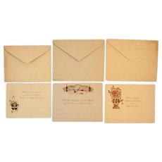 Three Unused Circa 1900s Christmas Greeting Cards and Envelopes